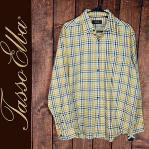 NWT Plaid Cotton Yellow and blue